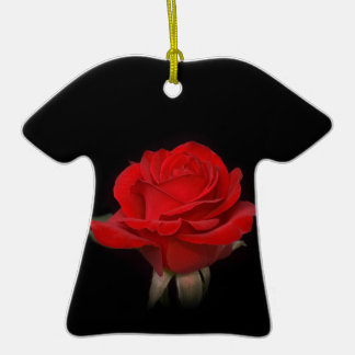 Very Red Rose Double-Sided T-Shirt Ceramic Christmas Ornament