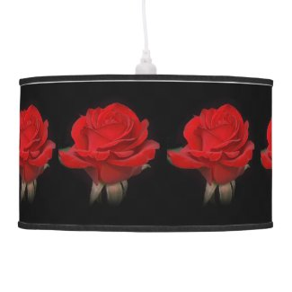 Very Red Rose x 7 on Black Lamp