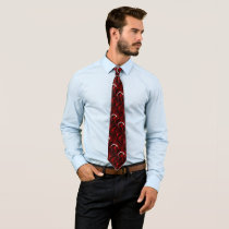 Very red with white accent neck tie