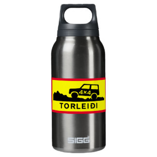 Very Rough Track, Traffic Sign, Iceland Thermos Bottle