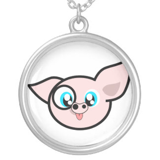 Very Silly Piggy Round Pendant Necklace