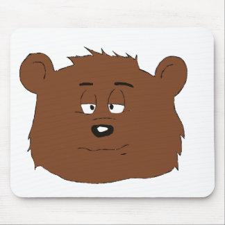 Very Sleepy Cartoon Brown Bear Mouse Pad