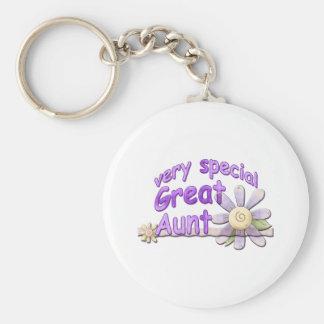 Very Special Great Aunt Flower Basic Round Button Keychain