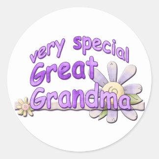 Very Special Great Grandma Design Classic Round Sticker