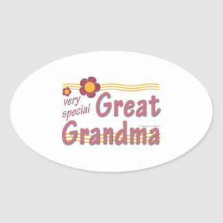 Very Special Great Grandma pink Oval Sticker
