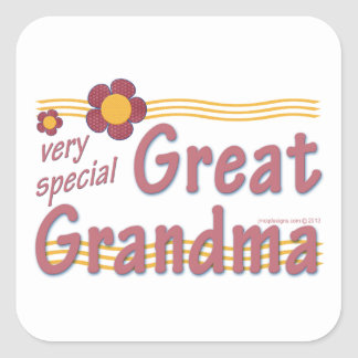 Very Special Great Grandma pink Square Sticker