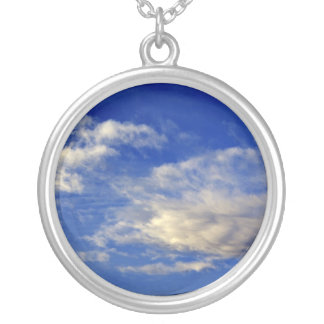 Very structured cloud in a beautiful blue sky round pendant necklace
