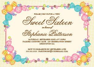 Candy sweet 16 invitations zazzle very sweet candy themed sweet sixteen birthday invitation filmwisefo