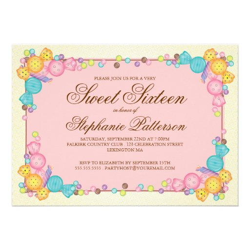 Personalized Candy theme birthday party Invitations – Candy Themed Party Invitations