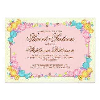 Very Sweet Candy Themed Sweet Sixteen Birthday 5x7 Paper Invitation Card