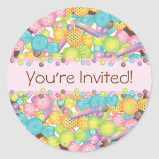 Very Sweet Colorful Candy Collection Birthday Classic Round Sticker