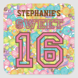 Very Sweet Colorful Candy Collection Birthday Stickers