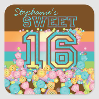 Very Sweet Colorful Candy Collection Birthday Square Sticker