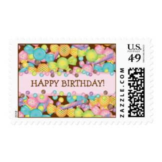 Very Sweet Colorful Candy Happy Birthday Postage