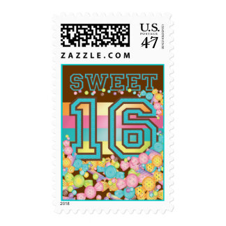 Very Sweet Colorful Candy Land Sweet 16 Sixteen Postage