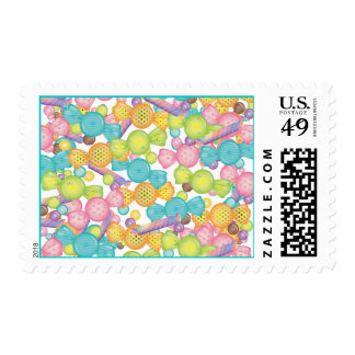Very Sweet Colorful Candy Store Explosion Postage Stamp