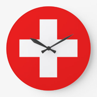 Very Swiss Clock - Swiss Flag Design