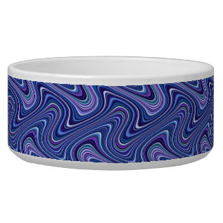 Very Unique Blue Shade Curvy Line Pattern Bowl