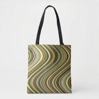 Very Unique Multi-Color Curvy Line Pattern Tote Bag