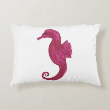 Beach Themed Very Violet Seahorse Accent Pillow