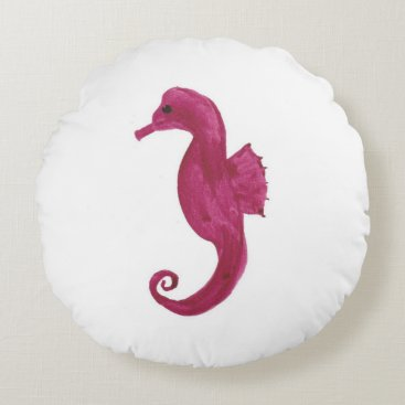 Beach Themed Very Violet Seahorse Round Pillow