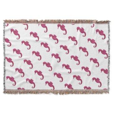 Beach Themed Very Violet Seahorse Throw Blanket
