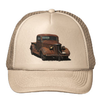 Very weathered '37 Chevy pick up on trucker cap Trucker Hat