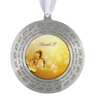 Very Yellow, Butterfly and Bubbles Christmas Ornament
