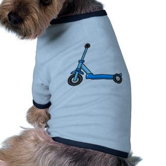 Vespa azul del retroceso/del empuje del dibujo camisa de perro