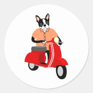 Vespa de Boston   Terrier Pegatina Redonda