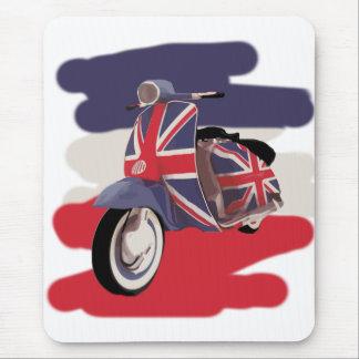 Vespa del británico de Union Jack Tapete De Ratones