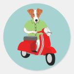 Vespa del Vespa de Jack Russell Terrier Etiqueta Redonda