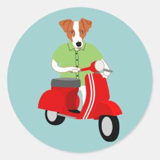Vespa del Vespa de Jack Russell Terrier Pegatina Redonda