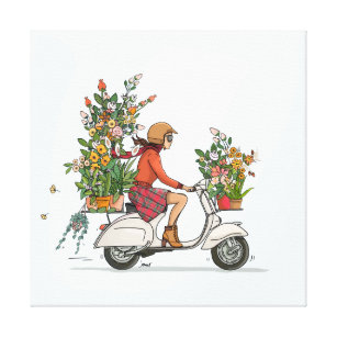 Vespa scooter little girl with flowers canvas print