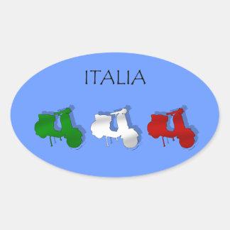 Vespas de la bandera italiana del logotipo de Ital Pegatina De Ovaladas