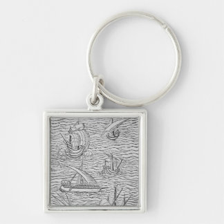 Vessels of Early Spanish Navigators Silver-Colored Square Keychain