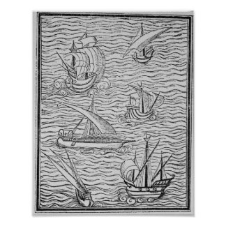 Vessels of Early Spanish Navigators Poster