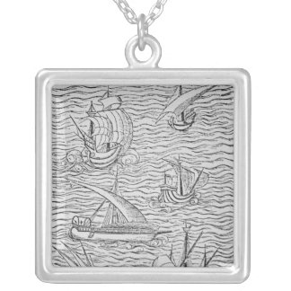 Vessels of Early Spanish Navigators Silver Plated Necklace