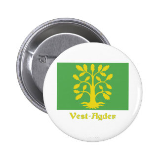 Vest-Agder flag with name 2 Inch Round Button