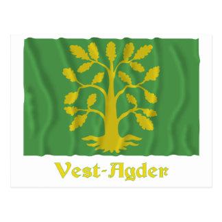 Vest-Agder waving flag with name Postcard