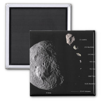 Vesta and Asteroid Gallery 2 Inch Square Magnet