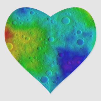 Vesta Asteroid Surface Abstract Heart Sticker