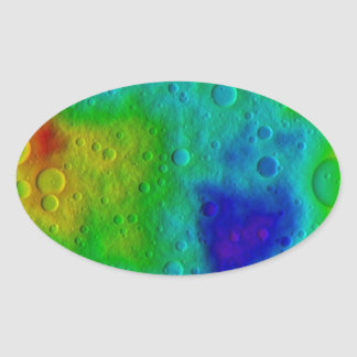 Vesta Asteroid Surface Abstract Oval Sticker