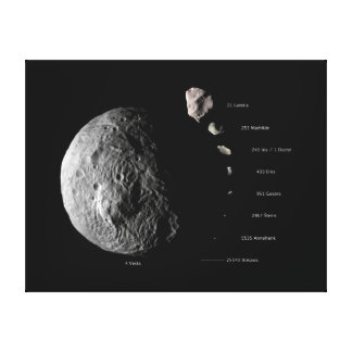 Vesta Compared To Other Asteroids Space Canvas Prints