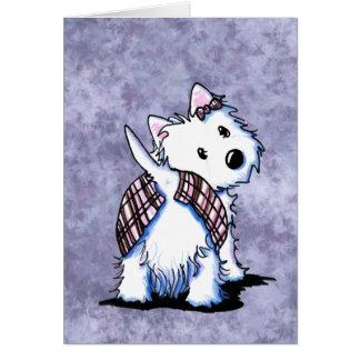 Vestido a la tarjeta de Westie de la falda escoces