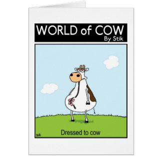 Vestido a la vaca tarjeta de felicitación