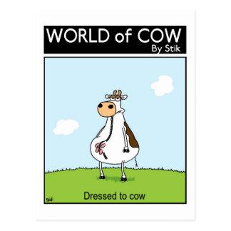 Vestido a la vaca tarjeta postal