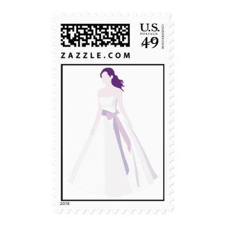 Vestido acentuado púrpura sello