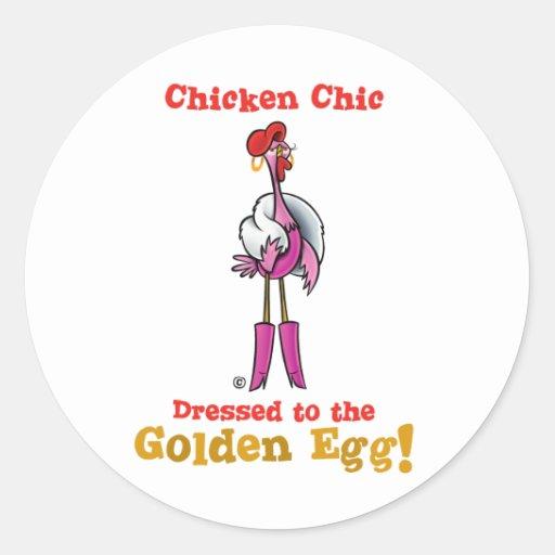 ¡Vestido al huevo de oro! Pegatina Redonda