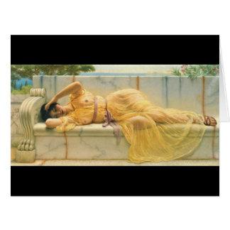 Vestido amarillo 1901 tarjeta de felicitación grande